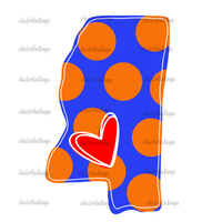 Love Mississippi Blue and Orange Hand Drawn Sublimation Design-Digital Download-Peace Love Paint Designs