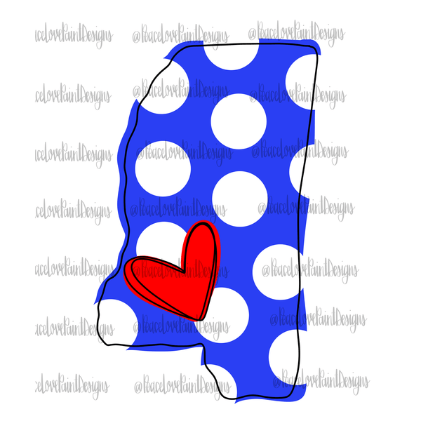 Love Mississippi Blue and White Hand Drawn Sublimation Design-Digital Download-Peace Love Paint Designs