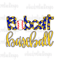 Bobcats Baseball Hand Drawn Sublimation Design