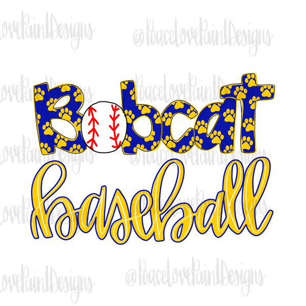 Bobcats Baseball Hand Drawn Sublimation Transfer-Sublimation Transfer-Peace Love Paint Designs
