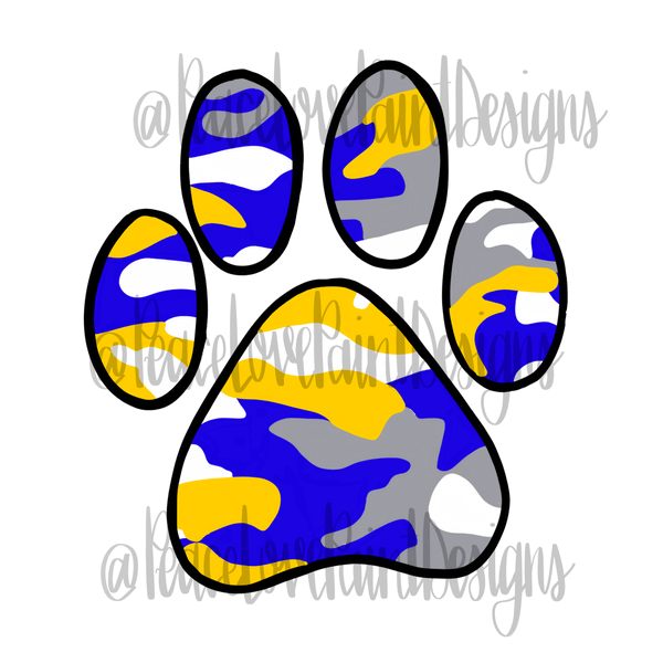 Blue and Gold Camo Paw Sublimation Design-Digital Download-Peace Love Paint Designs