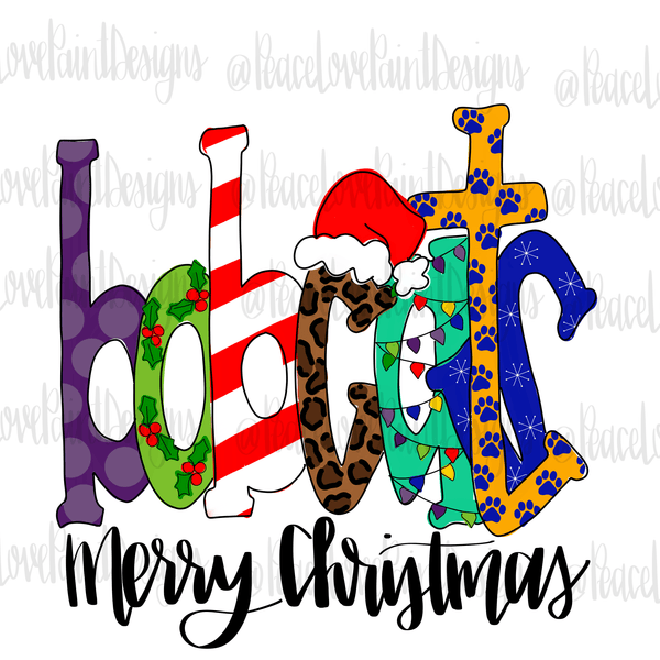 Bobcats Christmas Letters Hand Drawn Sublimation Design