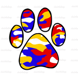 Red Blue Gold Camo Paw Hand Drawn Sublimation Design-Digital Download-Peace Love Paint Designs
