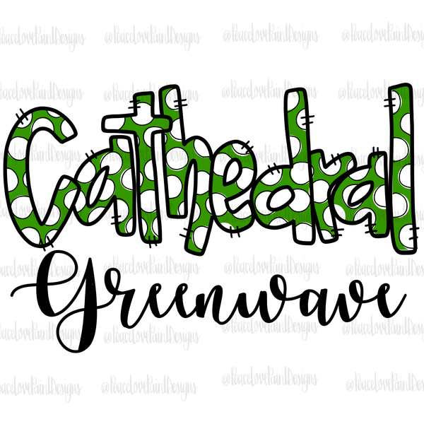 Cathedral Greenwave Hand Drawn Sublimation Design-Digital Download-Peace Love Paint Designs
