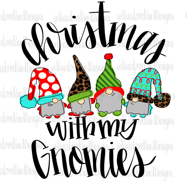 Christmas with my Gnomies Hand Drawn Sublimation Transfer-Sublimation Transfer-Peace Love Paint Designs