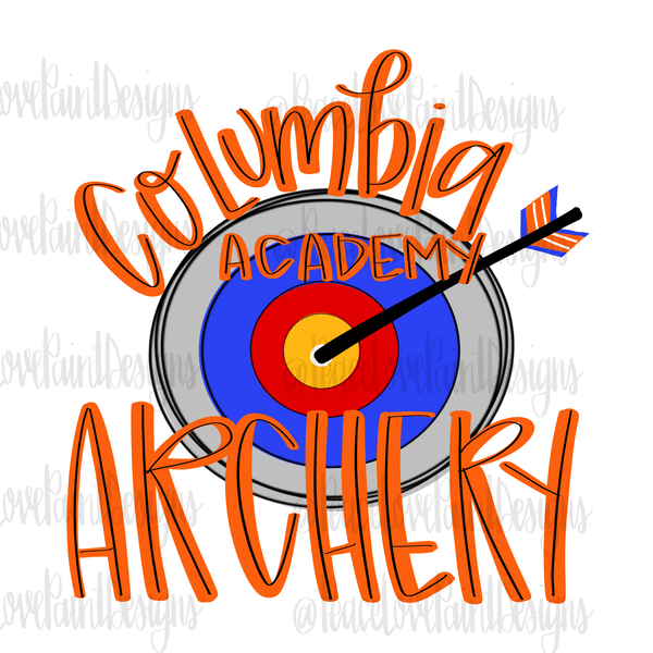 Columbia Academy Archery Hand Drawn Sublimation Design-Digital Download-Peace Love Paint Designs