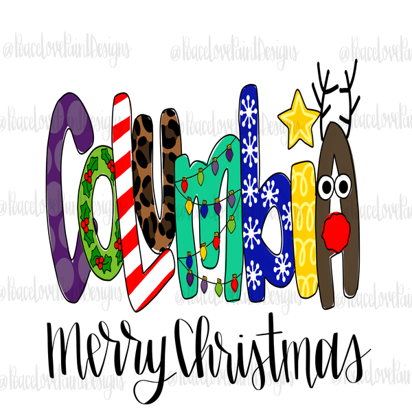 Columbia Christmas Letters Hand Drawn Sublimation Transfer-Sublimation Transfer-Peace Love Paint Designs