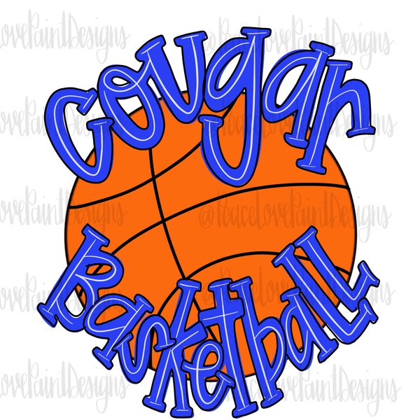 Cougar Basketball Sublimation Transfer-Sublimation Transfer-Peace Love Paint Designs