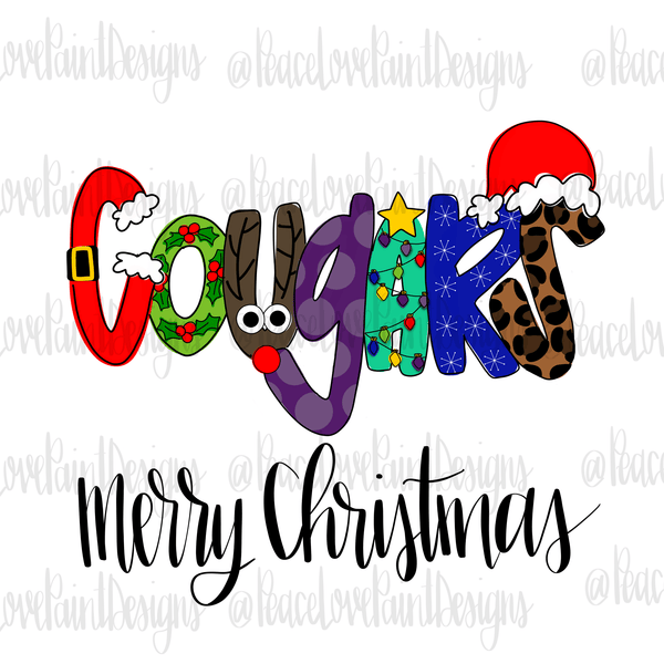 Cougars Christmas Letters Hand Drawn Sublimation Transfer-Sublimation Transfer-Peace Love Paint Designs