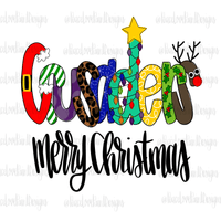 Crusaders Christmas Letters Hand Drawn Sublimation Transfer-Sublimation Transfer-Peace Love Paint Designs
