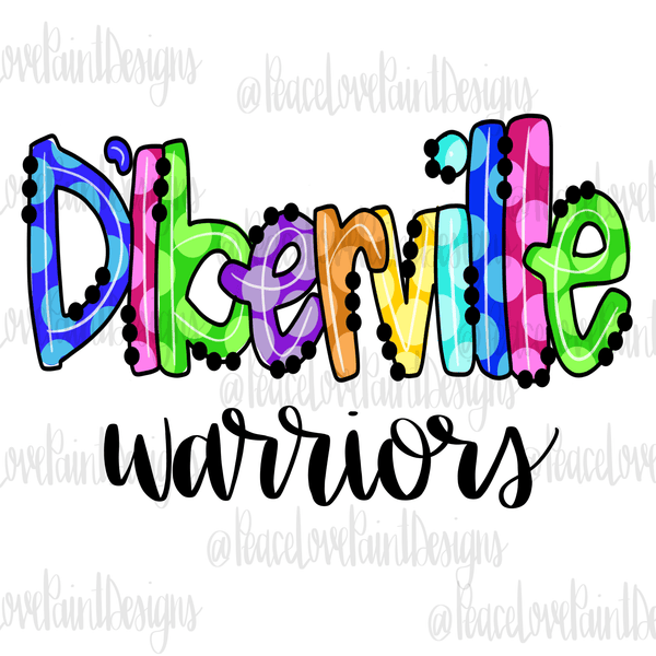 D'Iberville Rainbow Dot Hand Drawn Sublimation Transfer-Sublimation Transfer-Peace Love Paint Designs