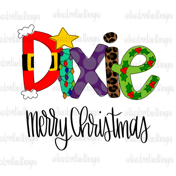 Dixie Christmas Letters Hand Drawn Sublimation Transfer-Sublimation Transfer-Peace Love Paint Designs