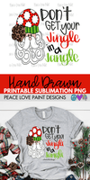 Don't Get Your Jingle In A Jangle Christmas Sublimation Design from Peace Love Paint Designs! This hand drawn Christmas sublimation design is perfect for sublimation t-shirt transfers, pillow designs, or any kind of Christmas sublimation design ideas!