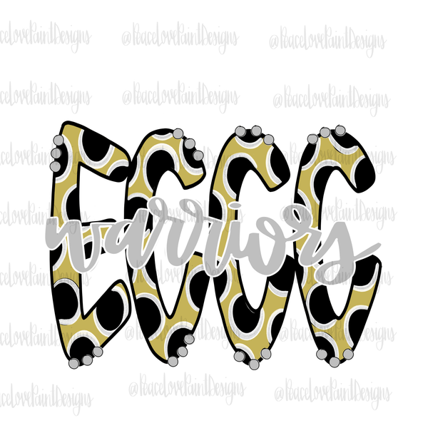 ECCC Warriors Polka Dot Hand Drawn Sublimation Transfers-Sublimation Transfer-Peace Love Paint Designs