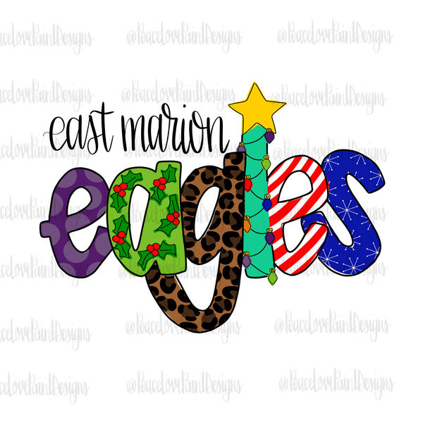East Marion Eagles Christmas Letters Hand Drawn Sublimation Design-Digital Download-Peace Love Paint Designs