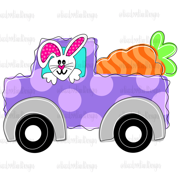 Bunny Truck Hand Drawn Sublimation Transfer-Sublimation Transfer-Peace Love Paint Designs