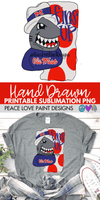 Ole Miss MS Fins Up Hand Drawn Sublimation Design-Digital Download-Peace Love Paint Designs