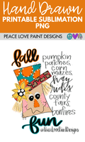 Fall Fun Scarecrow Hand Drawn Sublimation Design-Digital Download-Peace Love Paint Designs