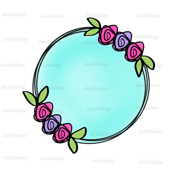 Spring Floral Wreath Hand Drawn Sublimation Design-Digital Download-Peace Love Paint Designs