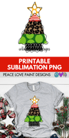 Funky Leopard Christmas Tree Hand Drawn Sublimation Design-Digital Download-Peace Love Paint Designs