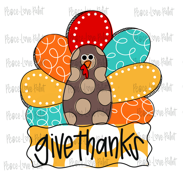 Give Thanks Turkey Hand Drawn Sublimation Transfer-Sublimation Transfer-Peace Love Paint Designs
