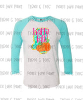 Happy Fall Adult Turquoise and Gray Raglan