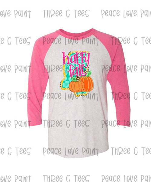 Happy Fall Adult Pink and Gray Raglan