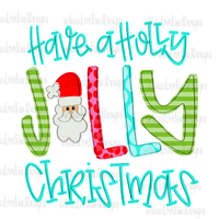 Holly Jolly Christmas Hand Drawn Sublimation Design-Digital Download-Peace Love Paint Designs