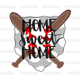 Home Sweet Home Baseball Hand Drawn Sublimation Design-Digital Download-Peace Love Paint Designs