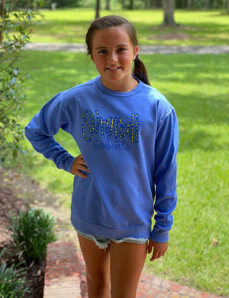 Youth CC Sumrall Bobcats Leopard Screen Sweatshirt-Tees-Peace Love Paint Designs