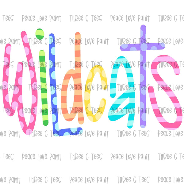Wildcats Ice Cream Font Hand Drawn Sublimation Design