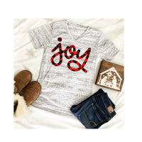 Leopard JOY Christmas V Neck Tee