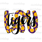 LSU Tigers Polka Dot Hand Drawn Sublimation Design-Digital Download-Peace Love Paint Designs