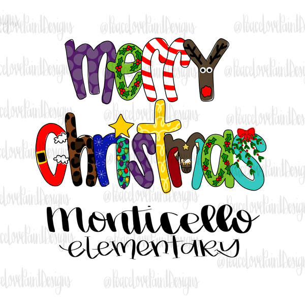 MES Christmas Letters Hand Drawn Sublimation Design-Digital Download-Peace Love Paint Designs