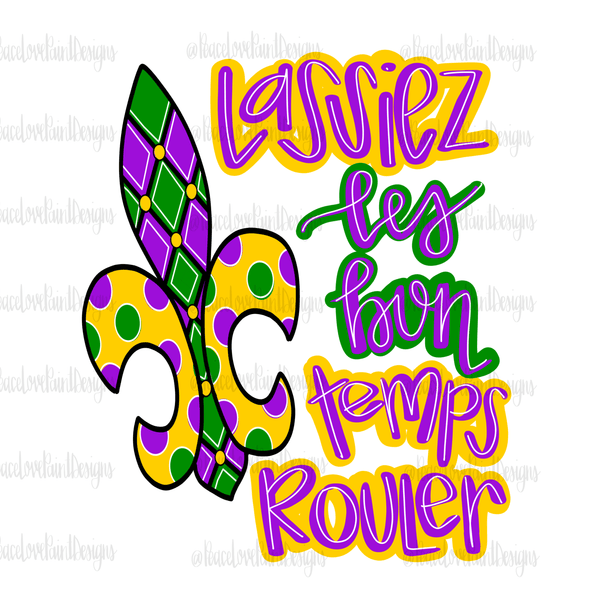 Mardi Gras Hand Drawn Sublimation Design-Digital Download-Peace Love Paint Designs