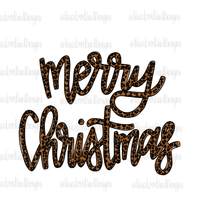 Merry Christmas Leopard Script Hand Drawn Sublimation Design-Digital Download-Peace Love Paint Designs