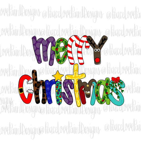 Merry Christmas Letters Hand Drawn Sublimation Design-Digital Download-Peace Love Paint Designs