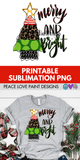 Merry and Bright Funky Leopard Christmas Tree Hand Drawn Sublimation Design-Peace Love Paint Designs