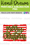 Stripes and Leopard Merry Christmas Hand Drawn Sublimation Design-Digital Download-Peace Love Paint Designs