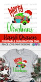 Merry Christmas Camper Hand Drawn Sublimation Design-Peace Love Paint Designs