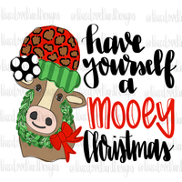 Christmas Cow Hand Drawn Sublimation Transfer-Sublimation Transfer-Peace Love Paint Designs