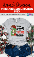 Christmas Cow Hand Drawn Sublimation Design-Digital Download-Peace Love Paint Designs