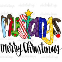 Mustangs Christmas Letters Hand Drawn Sublimation Design-Digital Download-Peace Love Paint Designs