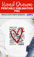Names Of God Hand Drawn Sublimation Design-Peace Love Paint Designs