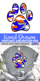Blue and Orange Camo Paw Hand Drawn Sublimation Design-Digital Download-Peace Love Paint Designs