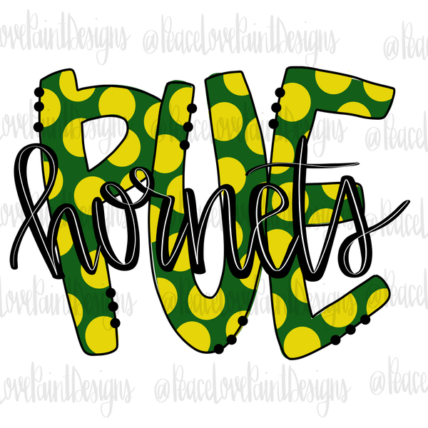 PUE Hornets Hand Drawn Sublimation Design-Digital Download-Peace Love Paint Designs