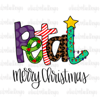 Petal Christmas Letters Hand Drawn Sublimation Design-Digital Download-Peace Love Paint Designs