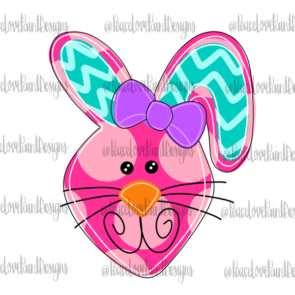 Pink Funky Bunny Hand Drawn Sublimation Design-Digital Download-Peace Love Paint Designs