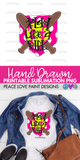 Play Like a Girl Softball Hand Drawn Sublimation Design-Digital Download-Peace Love Paint Designs