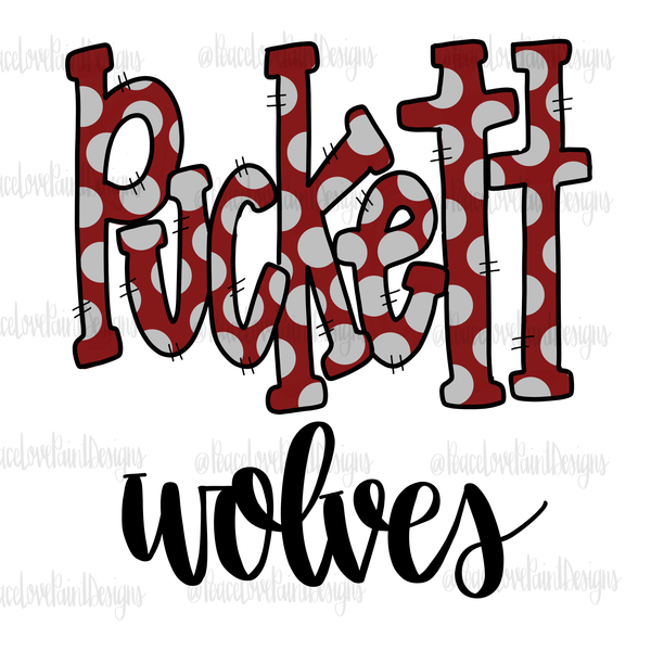 Puckett Wolves Hand Drawn Sublimation Design-Digital Download-Peace Love Paint Designs